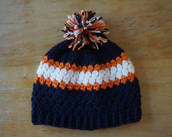 Crochet blue, orange and white winter hat, Detroit tiger's hat, winter hat, hat crochet, men's hat, hat men, women's hat, hat women