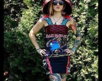 SALE!!! IRON MAIDEN Studded Lace Un-Zipped Hooded Women Dress