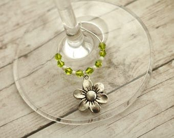 Flower Wine Charms, Wine Charms, Set of 6, Wine Lover Gifts
