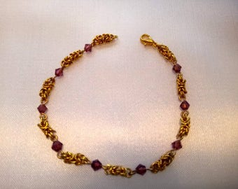 Byzantine and amethyst coloured bicone crystal bracelet