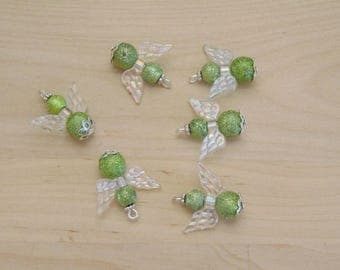 x 1 Angel charm, clear and green handmade ref CAS105