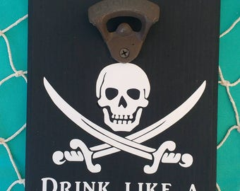 Pirate Cast Iron Bottle Opener Sign