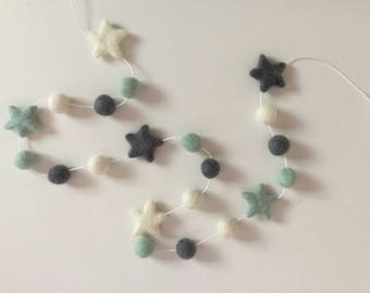 Baby garland, Pom Pom garland, wool felt balls and stars,  nursery decoration, babys shower gift, simplistic and beautiful, handmade