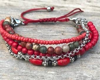 Stacker Bracelet, Boho Bracelet, Bracelet Set, Mix and Match Bracelet, Gift for Her, Beaded Bracelet, Stocking Filler, Red Bracelet