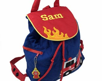 Personalised Stephen Joseph Fire Engine/ Fire Truck Back Pack