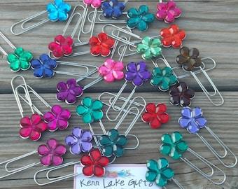 Flower gem paper clips, Cute office supplies, Cute paper clips, Flower paper clips, Co worker gift, Gift for boss, Set of 10 clips