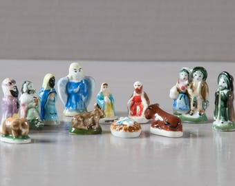 French Feve   Set of 12 porcelain fèves representing the nativity   Epiphany   King's cake   Galette des Rois   French Nativity  