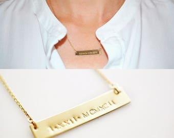 Bar Necklace/ Rectangular Bar Necklace/ Personalized Necklace/ Horizontal bar/ Silver Bar/ Gold Bar/ Rose Gold Bar Necklace