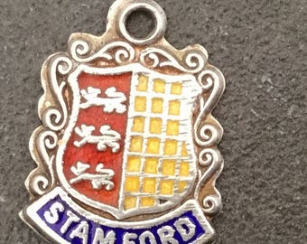 Silver Bracelet Charm Enamel Stamford Vintage Pendant Fob Souvenir Lincolnshire