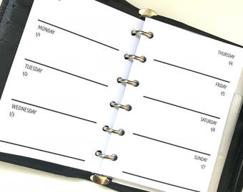 Week On Two Pages | WO2P | Horizontal Pocket Size Planner Inserts | Dated Inserts