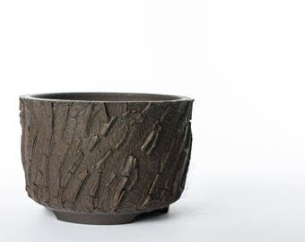 """4.75"""" Wide Succulent planter Dark brown clay with extremely rough surface texture"""