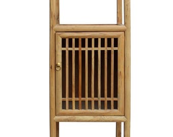 25 Off Chinese Raw Wood Slim Narrow Tall Open Display Storage Corner Cabinet cs2250E