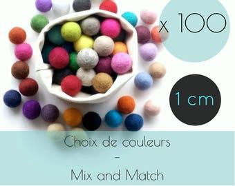 100 Felt balls/1 cm/wool pompom/DIY/bulk/choice of color/multicolor/felting/wholesale/creative project/Québec/Canada