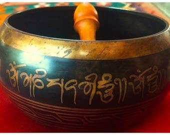 "6.5"" x 4"" Tibetan Singing BowlMade in Nepal, beautiful tone and voice. B flat tuning"