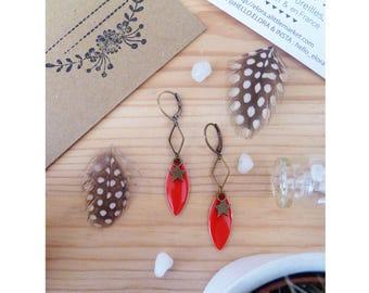 ▲ ▲ Earrings BUINNY bronze star pendant & red petal!
