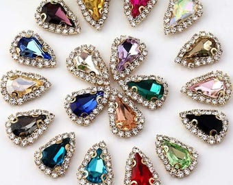 Tear Drop 8x13mm glass crystal rhinestones button flat back sew on in gold / silver color prong setting beads crystals glass gemstones