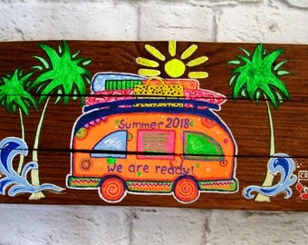 SummerTime Art Custom Made Sign Drawing Camper Decor Unique Gift Summer Gift Camper Summer Days Summer Time 2018 Sun Happy Camper Art