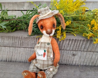 Artist teddy bear Teddy Rabbit Carrot-son 9.5 in, OOAK  Teddy rabbit Toy rabbit Funny rabbit Bunny Valentine gift  Hare Collectible rabbit
