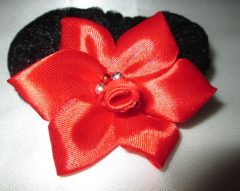 Scrunchie adorned with a Red satin flower