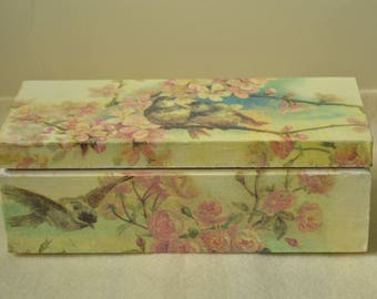 Wooden tea box, decoupage, floral decoupage box, shabby chic