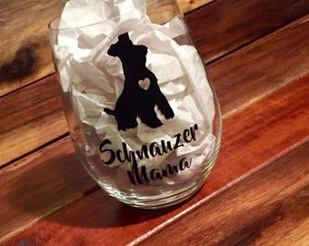 Schnauzer Mama Wine Glass | Stemless Wine Glass | Personalized Glass | Gift for Her | Mini or Giant Schnauzer | Schnauzer Dog Wine Glass