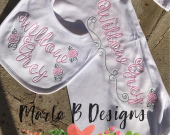 Baby Gown, Personalized Baby Gown, Personalized Bib, Personalized Baby Gift Set