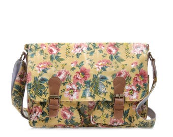 College Crossbody laptop bag- Oilcloth Zip computer bag - Floral bag - School Messenger bag - Oil cloth ladies purse - Laminated waterproof
