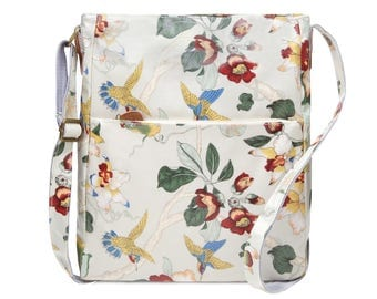 Crossbody College laptop Bag - Orchid - Oilcloth computer school bag - Work messenger bag - Ladies purse- University bag- Laminated cotton