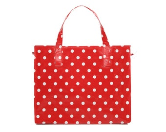 Ladies Large Reusable shopper- Oilcloth Work tote bag- Zip shopping bag - Oil cloth Laptop computer briefcase - Polka dot bag - Waterproof