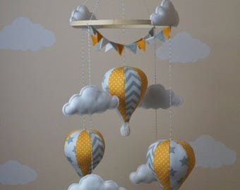 Hot air balloon baby mobile bunting orange polka grey stars chevron Ready to Ship