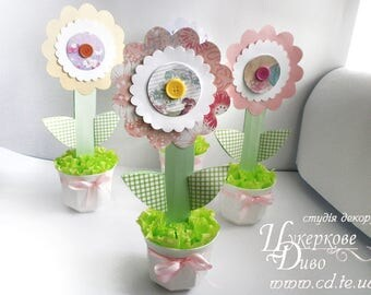 Set of 2 paper flower centerpiece girl party - table decorations - Elegant Baby Shower Centerpiece or Birthday Party Decorations Girl