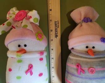 Sock Snowman Breast Cancer Awareness