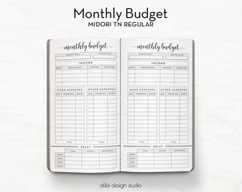 Monthly Budget, Midori Regular, Budget Planner, Travelers Notebook, Income Tracker, Expense Tracker, Midori Inserts, Bullet Journal, Tracker