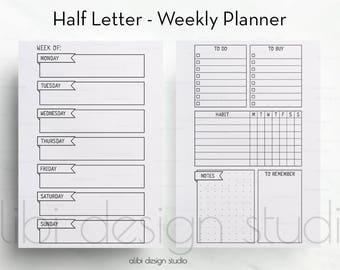 Weekly Planner, Half Letter, Week on 2 Pages, Weekly Inserts, Printable Planner, Half Size Planner, Habit Tracker, A5 Filofax, Half Size