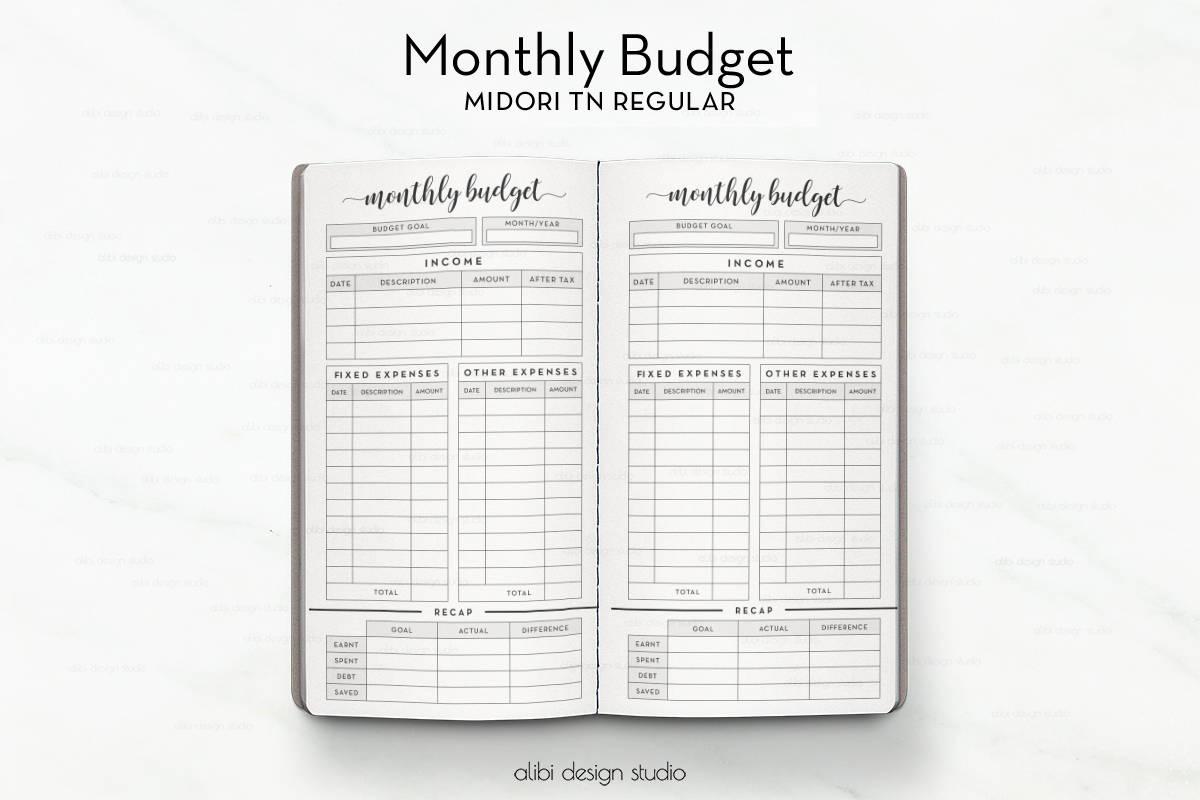 monthly budget midori regular budget planner travelers