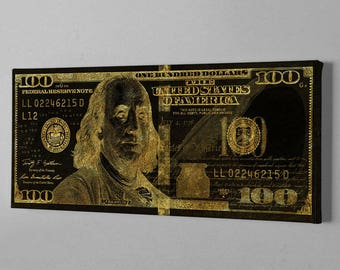 Money Art  Gold Benjamin Franklin Canvas (gold bill print - money print - money poster - money canvas - 100 dollar bill)
