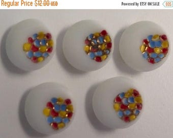 50% OFF - Group of 5 Vintage Painted White Glass Buttons - Dots & Metallic Gold