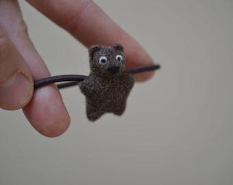 Elastic Metal-Free Hair Tie (Ponytail Holder) - Needle Felted Tiny Brown Bear