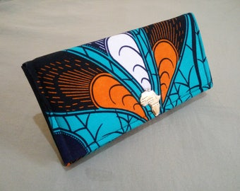 Turquoise Ankara Clutch Wallet with Gold-Tone Africa Logo Detailing