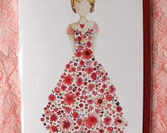 Red Flower Dress - BHF Chairty Greetings Card