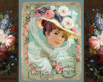 French Shabby Chic Victorian Girl Large Image Printable Digital Download Transfer Pillow Tote Fabric Transfer Gift Bag