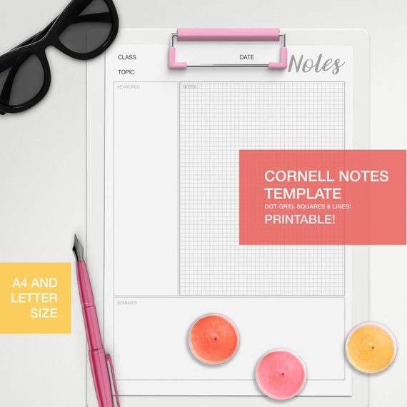 Cornell notes template A4 and LETTER size dot grid