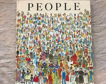 1980's PEOPLE Children's Book Written and Illustrated by Peter Spier. About Worldwide  Cultural Diversity FREE SHIPPING