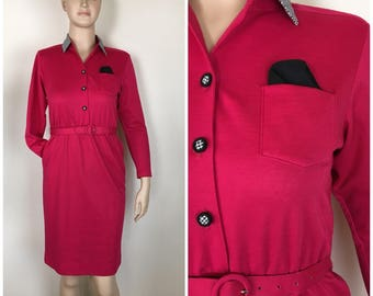 Vintage Womens 1980s Dark Pink Long Sleeve Belted Dress with Black & White Check Accents | Size M (Petite)