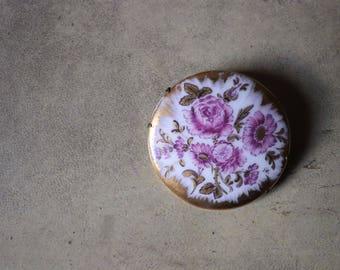 Vintage porcelain hand painted, pink and gold Vintage brooch gold brooch