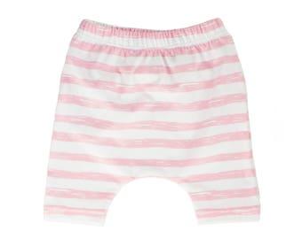 harem shorts, pink and white shorts, pink shorts, pink and white harem shorts, hipster baby shorts