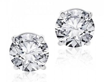 1.10 cttw Round Brilliant Diamond Screw Back Studs F-G/VS2 14K White Gold