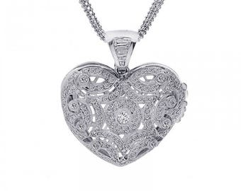 3.75 Carat Round & Baguette Diamond Heart Locket on Ball Link Chain 14K White Gold