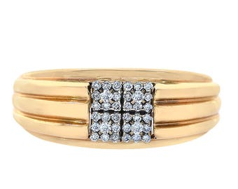 0.20 Carat Round Cut Diamond Men's Ring 10K Yellow gold