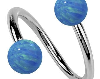 Opal 14K White Gold Twister Spiral Barbell